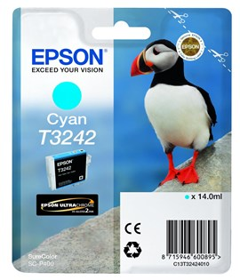 Epson Puffin T3242 (14ml) Ultrachrome Hi-Gloss2 Cyan Ink Cartridge for SureColor SC-P400 Printer