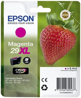 Epson Strawberry 29XL T2993 (Yield 450 pages) Claria Home Magenta 6.4 ml Ink Cartridge (Blister Pack)