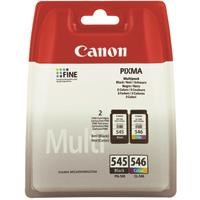 Canon PG-545/CL-546 (Yield: 180 Pages) Black/Cyan/Magenta/Yellow Ink Cartridge Pack of 2