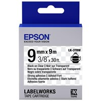 Epson LK-3TBW (9mm x 9m) Strong Adhesive Label Cartridge (Black on Transparent) for LabelWorks Label Makers