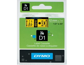 Dymo D1 (12mm) Gloss Tape (Black on Yellow)