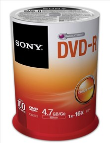 Sony (4.7GB) 120 Minutes 16x DVD-R on Spindle (Orange/White) Pack of 100 Discs *Open Box*