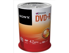 Sony (4.7GB) 120 Minutes 16x DVD-R on Spindle (Orange/White) Pack of 100 Discs