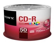 Sony CD-R 700MB 80min 48x Spindle (50 Pack) Inkjet Printable