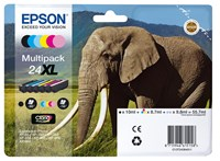 Epson Elephant 24XL (Yield: 500 Black/740 Colour Pages) High Yield Black/Cyan/Magenta/Yellow/Light Cyan/Light Magenta Ink Cartridge Pack of 6