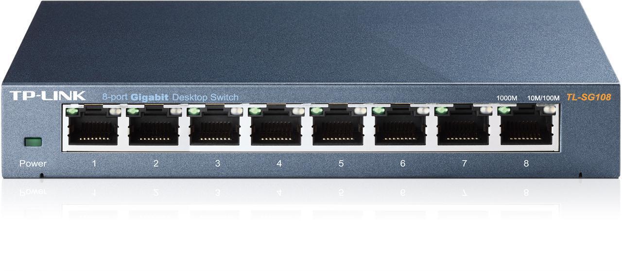 TP-LINK TL-SG108 Unmanaged 10//100//1000Mbps 8-Port Gigabit Desktop Switch Metal