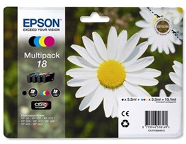 Epson Daisy 18 T1806 Multipack 4 Colour (Black/Cyan/Magenta/Yellow) Ink Cartridges RF/AM