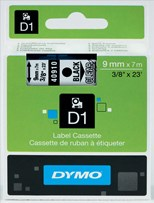 Dymo 9mm D1 Standard Tape (Black on Transparent)