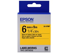 Epson LK-2YBP (6mm x 9m) Label Cartridge (Black on Yellow) for LabelWorks Label Makers