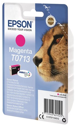 Epson Cheetah T0713 (Yield 280 Pages) DURABrite Ink Cartridge (Magenta)