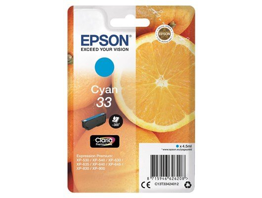 Epson Oranges 33 (Yield 300 Pages) Claria Premium Ink Cartridge (Cyan)