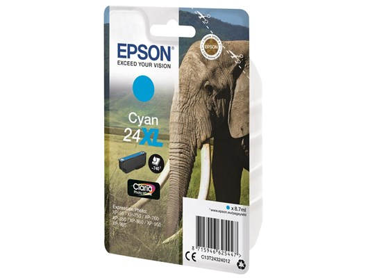 Epson Elephant 24XL (Yield 740 Pages) High Capacity Claria Photo HD Ink Cartridge (Cyan)