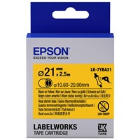 Epson LK-7YBA21 (21mm x 2.5m) Heat Shrink Tube Label Cartridge (Black on Yellow) for LabelWorks LW-Z9000FK and LW-1000P Label Makers