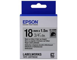 Epson LK-5SBR (18mm x 1.5m) Label Cartridge (Black on Silver) for LabelWorks Label Makers