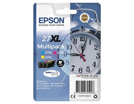 Epson Alarm Clock 27XL (Yield: 1,100 Pages) High Yield Cyan/Magenta/Yellow DURABrite Ink Cartridge Pack of 3