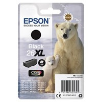 Epson Polar Bear 26XL (Yield 500 pages) Black Claria Premium Ink Cartridge (Non Tagged) for Expression Premium XP-600/XP-605/XP-700/XP-800 All-in-One Inkjet Printers