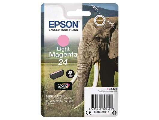 Epson Elephant 24 (non-Tagged) Ink Cartridge (Light Magenta) for Epson Expression Photo: XP-750 / XP-850