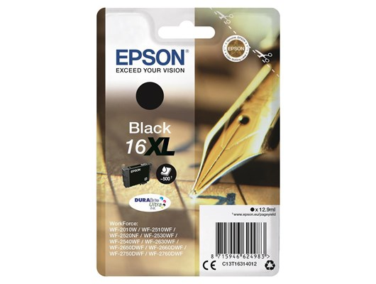 Epson Pen and Crossword 16XL (Yield 500 Pages) DURABrite Ultra Ink Cartridge (Black)
