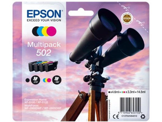 Epson 502 Series Multi-Pack (Black/Cyan/Magenta/Yellow) Ink Cartridges (14.5ml) for WorkForce WF-2860DWF/Expression Home XP-5105