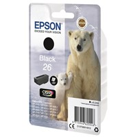 Epson Polar Bear 26 (Yield 200 pages) Black Claria Premium Ink Cartridge (Non Tagged) for Expression Premium XP-600/XP-605/XP-700/XP-800 All-in-One Inkjet Printers