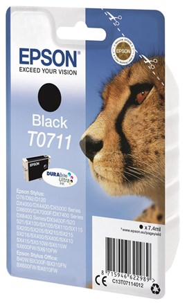 Epson Cheetah T0711 (Yield 240 Pages) DURABrite Ink Cartridge (Black)