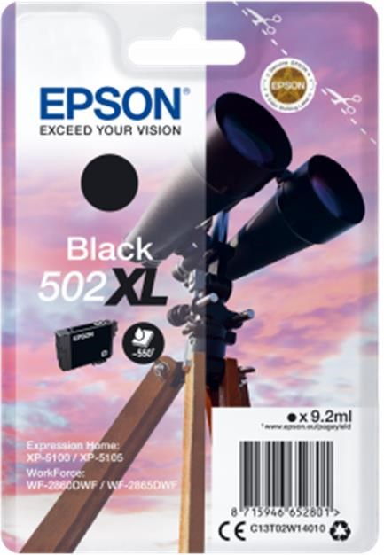 Epson 502 XL Series (Yield: 550 Pages) Black Ink Cartridge (9.2ml) for WorkForce WF-2860DWF/Expression Home XP-5105
