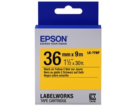 Epson LK-7YBP (36mm x 9m) Label Cartridge (Black on Pastel Yellow) for LabelWorks LW-Z9000FK/LW-900P/LW-1000P Label Makers