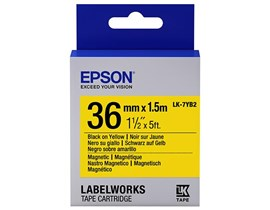 Epson LK-7YB2 (36mm x 1.5m) Magnetic Label Cartridge (Black on Yellow) for LabelWorks Label Makers