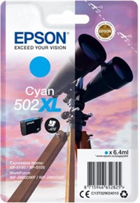 Epson 502 XL Series (Yield: 470 Pages) Cyan Ink Cartridge (6.4ml) for WorkForce WF-2860DWF/Expression Home XP-5105