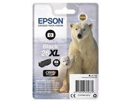Epson Polar Bear 26XL (Yield 400 Pages) Claria Premium Ink Cartridge (Photo Black)