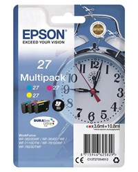 Epson Alarm Clock 27 DURABrite Ultra Multipack Ink Cartridges (Cyan/Magenta/Yellow)
