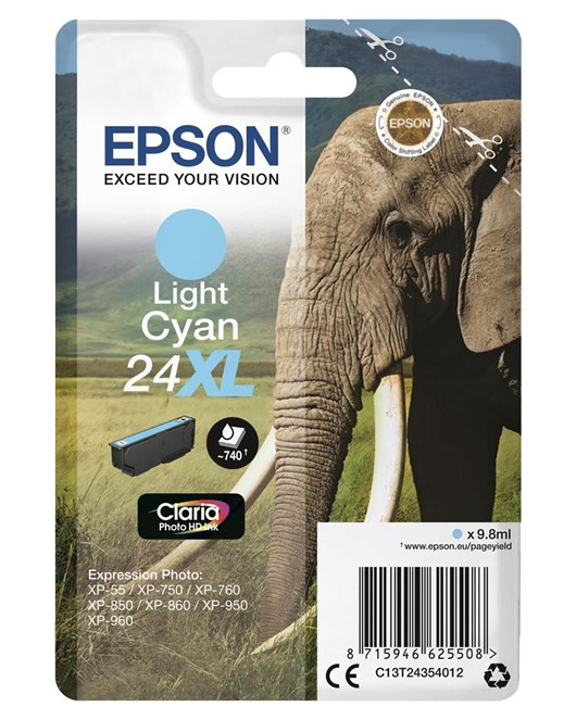 Epson Elephant 24XL (non-Tagged) High Capacity (Yield 740 Pages) Ink Cartridge (Light Cyan) for Epson Expression Photo: XP-750 / XP-850