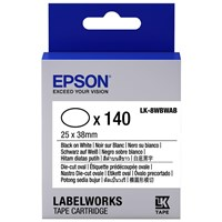 Epson LK-8WBWAB (140 Labels - 25 x 38mm) Die-cut Oval Label Cartridge (Black on White) for LabelWorks LW-Z9000FK Label Maker