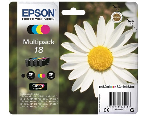 Epson Daisy 18 Multipack 4 Colour Claria Home Ink Cartridges (Black/Cyan/Magenta/Yellow)
