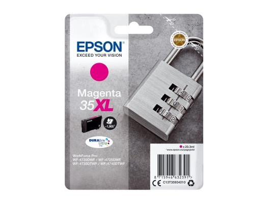 Epson Padlock 35XL T3593 (Yield 1900 pages) DURABrite Ultra Magenta 20.3ml Ink Cartridge