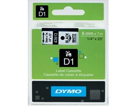 Newell D1 (6mm) Permanent Plastic Tape (Black on White) for Dymo Pocket Label Printers