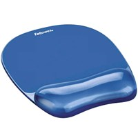 Fellowes Crystal Gel Mousepad/Wrist Rest - Blue