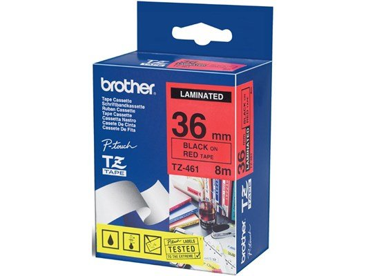 Brother P-touch TZ-461 (36mm x 8m) Black On Red Laminated Labelling Tape