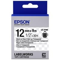 Epson LK-4TBN  (12mm x 9m) Label Cartridge (Black on Transparent) for LabelWorks Label Makers