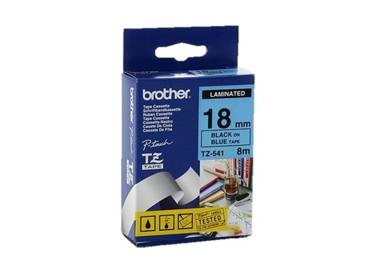 Brother P-touch TX-541 (18mm x 15m) Black On Blue Labelling Tape