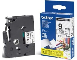 Brother P-touch TZ-121 (9mm x 8m)) Black on Clear Gloss Laminated Labelling Tape for P-Touch