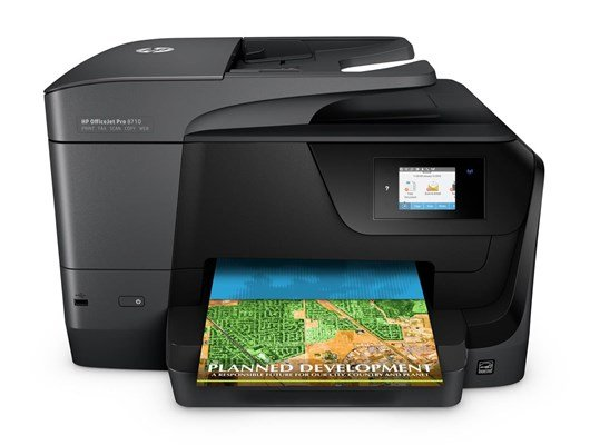 HP OfficeJet Pro 8710 (A4) Colour Inkjet Wireless All-in-One Printer (Print/Copy/Scan/Fax) 128MB 2.65 inch Colour LCD 22ppm (Mono) 18ppm (Colour) 25,000 (MDC)