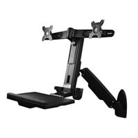 StarTech.com Wall-Mounted Adjustable Dual Monitor Sit-Stand Desk (Black)