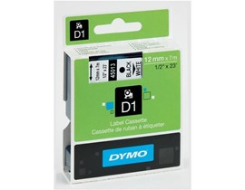 Newell D1 (12mm) Permanent Plastic Tape (Black on White) for Dymo Pocket Label Printers