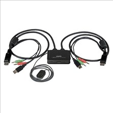 StarTech.com 2 Port USB DisplayPort Cable KVM Switch with Audio and Remote Switch - USB Powered