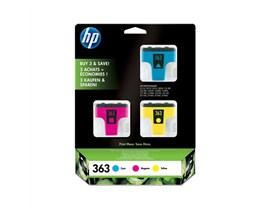 HP 363 (Yield: 400 Cyan/370 Magenta/500 Yellow Pages) Cyan/Magenta/Yellow Ink Cartridge Pack of 3