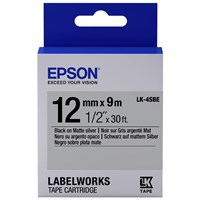 Epson LK-4SBE (12mm x 9m) Label Cartridge (Black on Matte Silver) for LabelWorks Label Makers