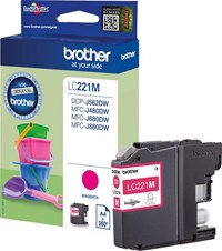 Brother LC-221M (Yield: 260 Pages) Magenta Ink Cartridge