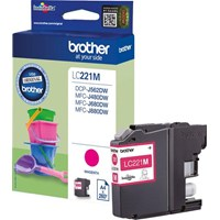 Brother LC221M (Yield: 260 Pages) Magenta Ink Cartridge