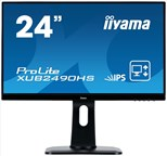 Iiyama ProLite XUB2490HS (23.8 inch) LED Backlit LCD Monitor 1000:1 250cd/m2 (1920x1080) 5ms DVI/HDMI/DisplayPort (Black)